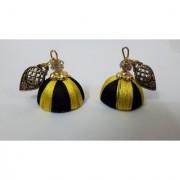 Jewelz Silk thread Handmade yellow Black Jhumki Small Size
