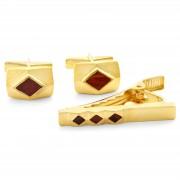 Northern Jewelry Vergoldete 925er Silber Manschettenknöpfe & Kurze Krawattenklammer Set Mit Tigerauge