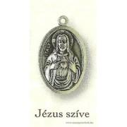 Jézus szíve ezüstözött érem