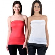NumBrave Womens Red White Tube Top (Combo of 2)