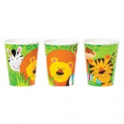 Animal-themed Party Cups - 8 Jungle Animal Disposable Cups. Holds 270ml. Made from paper. Matching party tableware available.