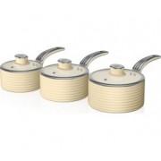 Set cratite 3 piese Swan SWPS3020CN, Inductie, Capace termorezistente, Ceramica, Crem