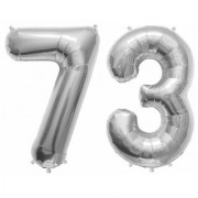 Stylewell Solid Silver Color 2 Digit Number (73) 3d Foil Balloon for Birthday Celebration Anniversary Parties