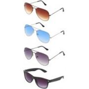 kingsunglasses Wayfarer, Aviator Sunglasses(Brown, Blue, Grey, Black)
