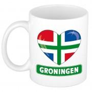 Shoppartners Groningse vlag hartje koffiemok 300 ml