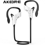 Sport Headphone AKEDRE Wireless Sports Bluetooth V4.1 Headphones Sweatproof Running Exercise Stereo with Mic Earbuds Earphones for Iphone 6/6s Plus Galaxy S6 and Android Phones-(White)
