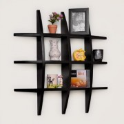 BM Wood furniture designed globe shape floating wall shelf unit ( black)