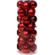 Geen Rode kerstballen 28 stuks 6 cm