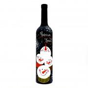 Sticla de vin pictata Snowman