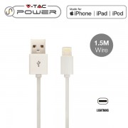 CAVO USB A USB LIGHTNING APPLE 1,5 METRI BIANCO VT-5552-LED8453