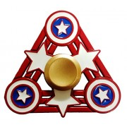 Marvel Avengers New Designs Justice League Logo Full Metal Hand Wind Spinner Stress Reducer Anti Anxiety for Children / Adults - Smart Buy (Tri Captain America)