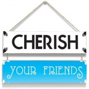 100yellow Cherish Your Friend Wall Door Hanging Board Plaque Sign For Wall Dcor (7 X 12 Inch)