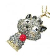 Sparkle Sassy Sparkle Kitty - Guldfärgat Smycke med Grå Glittrande Stenar