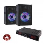 Fenton DJ set de PA LED15BT 2 x Altavoz PA Skytec Amplificador HiFi Cable de altavoz (PL-32428-10868)