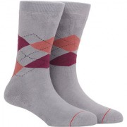 Soxytoes Sport Argyle Grey Cotton Calf Length Pack of 1 Pair Argyle for Men Athletic Sports Socks (STS0038C)