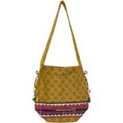 Lambani Embroidery Cotton Yellow Potli Bag Shoulder Bag(Yellow, 5 inch)