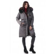Geacă iarna damă reversibila culoare gri închis L (40)