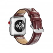 Top Layer Crazy Horse Texture Cowhide Leather Watch Strap for Apple Watch Series 5 4 40mm / Series 3 2 1 38mm - Red