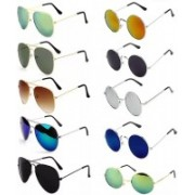 Elgator Aviator, Round Sunglasses(Green, Brown, Blue, Black, Yellow, Silver)
