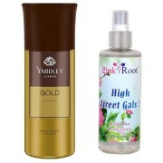 Yardley Gold Body Spray for Men 150ml and Pink Root High Street Gals Fragrance body Spray 200ml Pack of 2