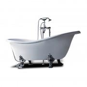 Vasca da bagno con piedini finitura cromo Epoque 170x80 cm in sintetico bianco