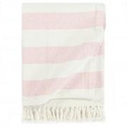vidaXL Pătură decorativă, roz învechit, 220 x 250 cm, bumbac, dungi