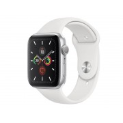 Умные часы APPLE Watch Series 5 44mm Silver Aluminium with White Sport Band S/M - M/L MWVD2RU/A