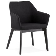 Moderne stoel 'NANO' in zwarte stof met armleuningen
