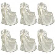 vidaXL Калъфи за столове, сватба, кремави – 6 броя