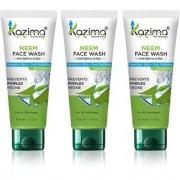 KAZIMA Neem Face Wash With Tea Tree Tulsi( 3PCS of 100 ML)-For Anti Pollution Anti Acne Nourishes Skin + Pore Purify