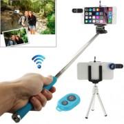 7 in 1 180 Degree Fisheye Lens + Marco Lens + Selfie Monopod + Shutter Remote Kit with Tripod & Phone Clip & Lens Clip(Blue)
