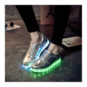 Unisex LED Luminous Shoes Solid Color Flashing USB Sneakers Lace-up Shoes Silver