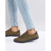 Fred Perry Underspin Heavy Waxed Canvas Trainers In Khaki - 385