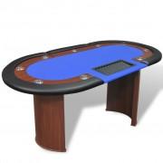 Sonata Покер маса за 10 играчи с дилър зона и табла за чипове, синя