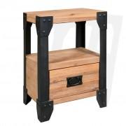vidaXL Нощно шкафче, акациево дърво масив, стомана, 40x30x54 cм