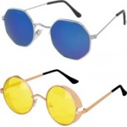 Rich Club Round Sunglasses(Yellow, Blue)