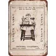 metal Signs Carta Blanca Cerveza, diseño clásico de reproducción Tin Sign - Placa de metal 20,3 x 30,5 cm