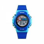 Ceas de copii sport SKMEI 1477 waterproof 5ATM dual time cu alarma, data si iluminare cadran, albastru