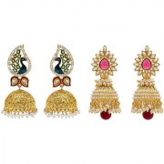 Jewels Gehna Alloy Party Wear Wedding Traditional Combo Jhumki Earring Set For Women Girls