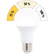 Luminea LED-Lampe mit 3 Helligkeits-Stufen, 10 W, 810 lm, E27, warmweiss, A60