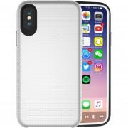Para IPhone X PC + TPU Antideslizante Protector Cromado, Pulse El Boton Volver Funda (plata)