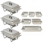 vidaXL Комплект съдове за бен мари, 3 бр, неръждаема стомана