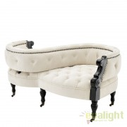 Canapea design elegant cu tapiterie de catifea Gaby Ecru 110108 HZ