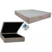 Conjunto Cama Box Baú - Colchão Probel de Molas Pocket Multilátex + Cama Box Baú Nobuck Bege - Conjunto Box Solteiro - 088 x 188