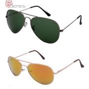 Ediotics Green Aviator and Golden Aviator Sunglasses Combo