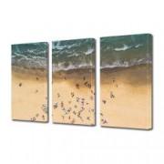 Tablou Canvas Premium Peisaj Multicolor Oameni pe plaja vazuti de sus Decoratiuni Moderne pentru Casa 3 x 70 x 100 cm