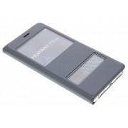 Grijze luxe slim booktype hoes met venster voor de Huawei P9 Lite