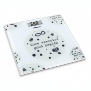 Cantar de baie Heinner HBS-150MSJ, 150KG, 30 X 30 cm, Display LCD, Platforma 6mm din sticla, Alb/Mesaj negru