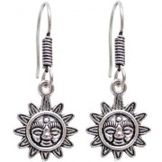 Lucky Jewellery Black Metal Silver Oxidised Sun Design Earring