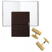 Set Butoni Gold Plated S.T. Dupont si Note pad Burgundy Hugo Boss